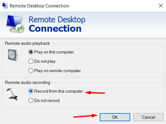 How to enable microphone on Remote Desktop