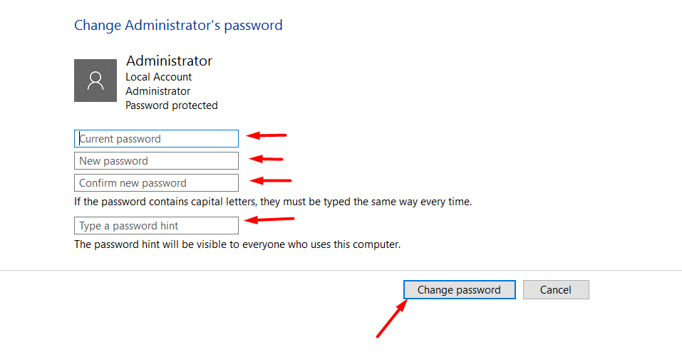 click-change-password-for-changing-password-using-control-panel