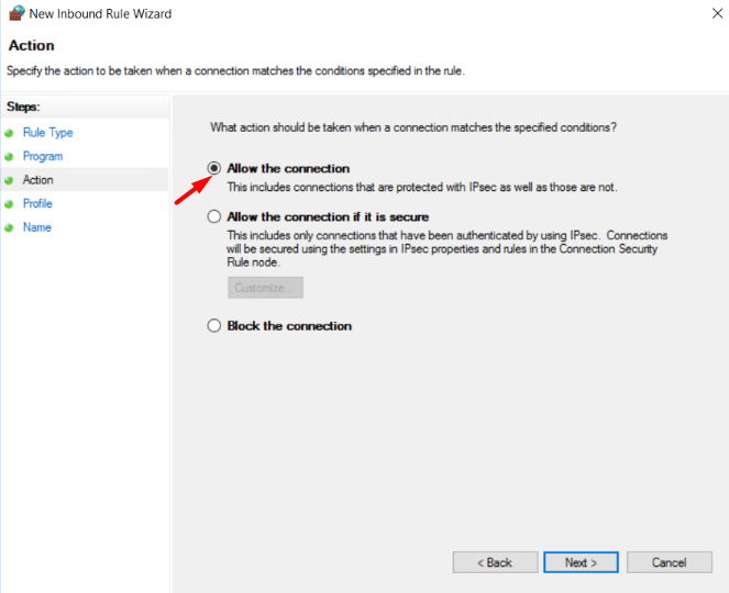click-on-allow-connection-inbound-rule