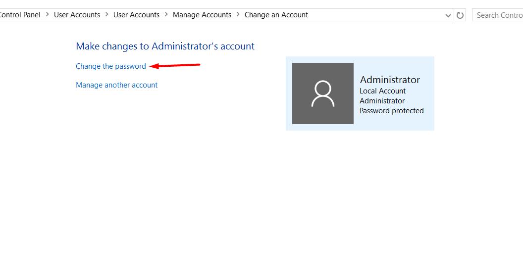 click on change password control panel