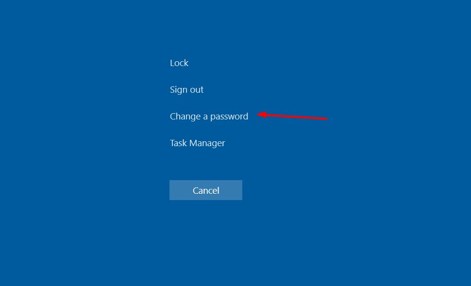 click on change password ctrl alt del