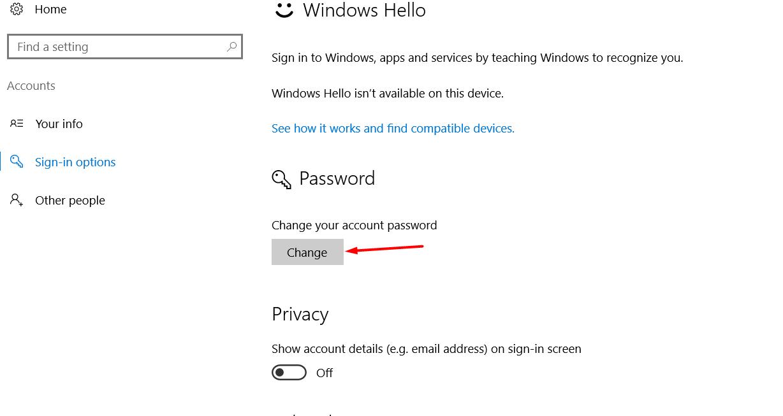 click on change under password