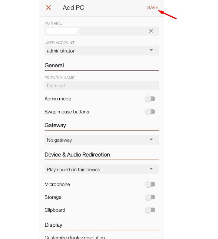 click on save remote desktop
