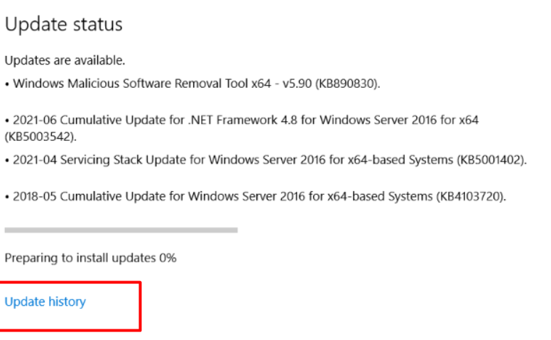 click-on-update-history