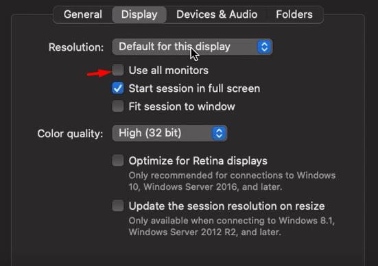 deselect use all monitors