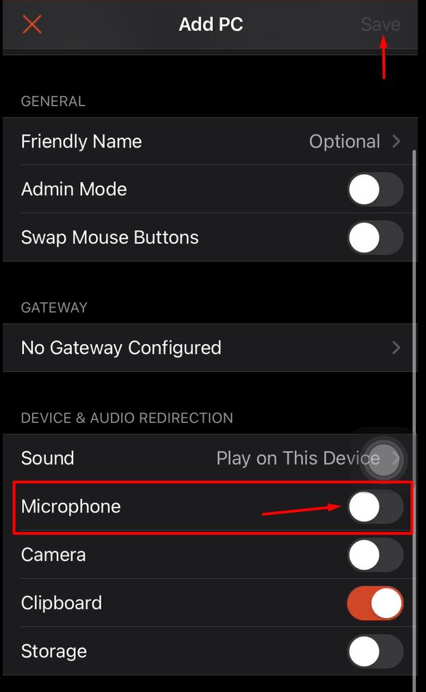 enable IOS microphone remote desktop