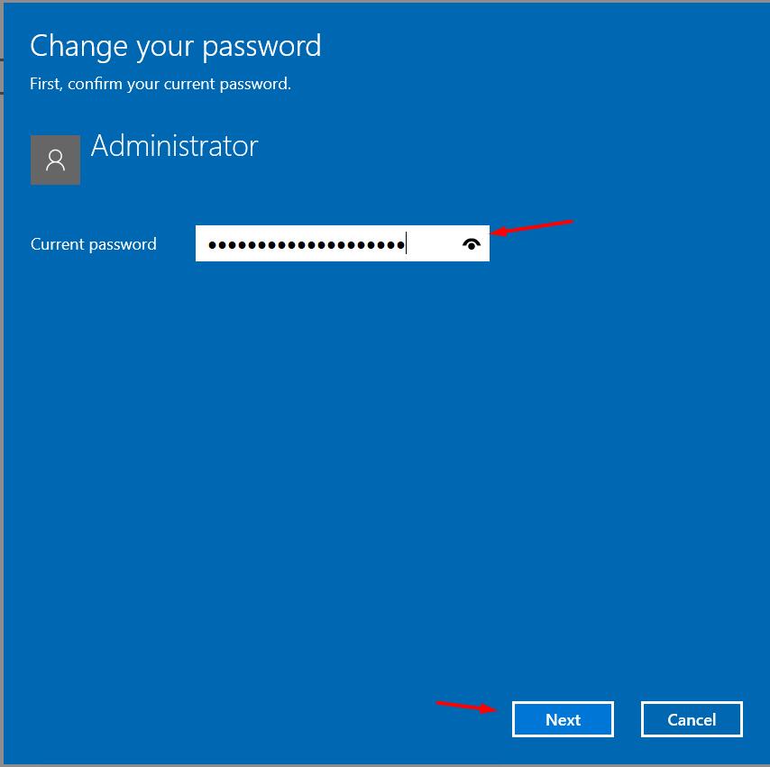 enter present password click next