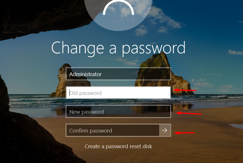 fill the old password and new password to continue