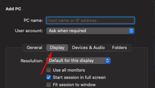 navigate to display option macos remote desktop