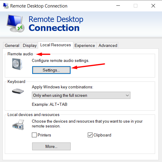 navigate to remote audio settings