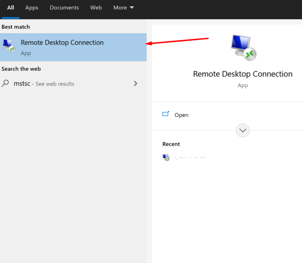 open remote desktop connection application windows