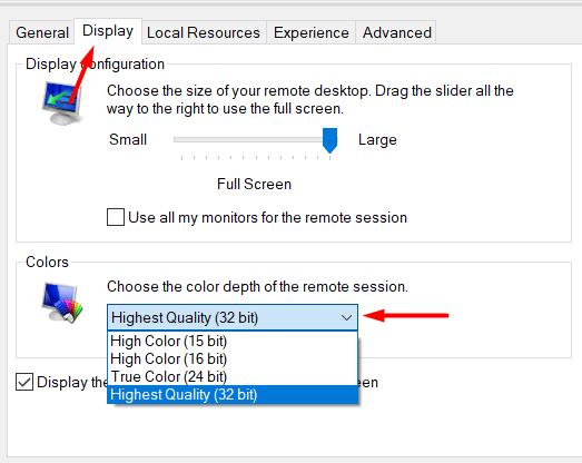 How to change Remote Desktop Colour Depth