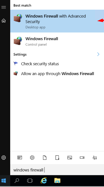 select windows firwall with advanced option