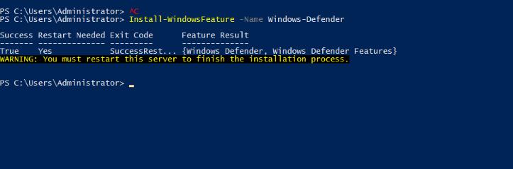 Windows-defender-install-using-pwershell